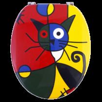 Bath Duck Wc-Ülőke - Mdf - Mintás - Rozsdamentes Acél Zsanérokkal - Art Cat (Cica)