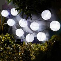 Garden of Eden Szolár lampion fényfüzér - 10 db fehér lampion, hidegfehér LED - 3,7 m