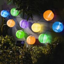 Garden of Eden Szolár lampion fényfüzér - 10 db színes lampion, hidegfehér LED - 3,7 m