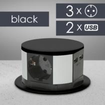 Delight Elosztó - rejtett, 3-as + USB - fekete