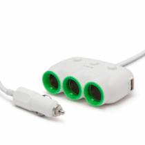 MNC Szivargyújtó aljzatba csatlakoztatható 3-as elosztó + 2 x USB