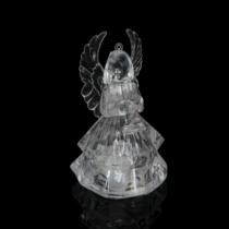 Family Christmas LED akril angyal akasztóval - 4 féle - RGB - 8,5 x 5 cm - 12 db / display
