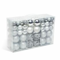 Karácsonyi gömbdísz szett - 100 db / csomag - ezüst