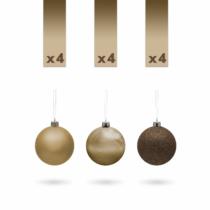 Gömbdísz szett - 3 cm - bronz - 12 db / csomag