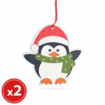 Family Christmas Karácsonyfadísz szett - pingvin - fából - 8 x 6 cm