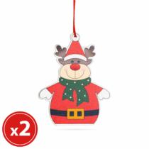Family Christmas Karácsonyfadísz szett - rénszarvas - fából - 8 x 6 cm
