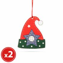 Family Christmas Karácsonyfadísz szett - manósapka - fából - 8 x 6 cm