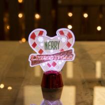 Family Christmas Karácsonyi asztali LED dekor - fényes talppal - szív - 11 cm