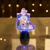 Family Christmas Karácsonyi asztali LED dekor - fényes talppal - csizma - kék - 12 cm