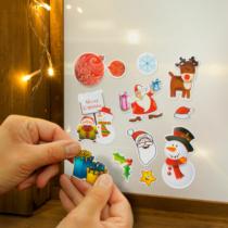 Family Christmas Karácsonyi matrica szett - világoszöld alap - 3 lap