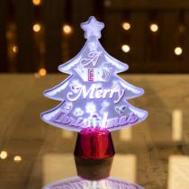 Family Christmas Karácsonyi asztali LED dekor - fényes talppal - karácsonyfa - 15 cm