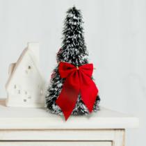Family Christmas Karácsonyi, asztali műfenyő - havas - 2 piros masnival - 26 cm