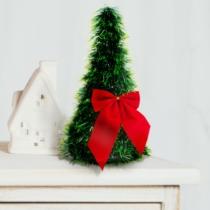 Family Christmas Karácsonyi, asztali műfenyő - zöld - 2 piros masnival - 26 cm