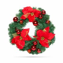 Family Christmas Karácsonyi koszorú - piros színű - 40 cm