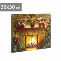 Family Christmas Karácsonyi LED-es hangulat kép - fali akasztóval, 2 x AA, 30 x 30 cm