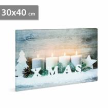 Family Christmas Karácsonyi LED-es hangulat kép - fali akasztóval, 2 x AA, 30 x 40 cm