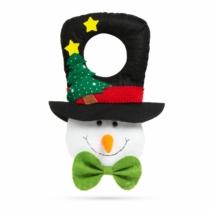 Family Christmas Karácsonyi kilincs dekor - hóember fekete kalapban - 29 x 18,5 cm