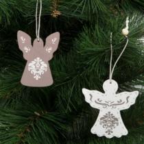 Family Christmas Karácsonyfadísz - angyalka - akasztható - fa - 7 x 5 cm