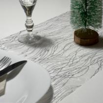 Family Christmas Karácsonyi asztalterítő futó - ezüst színű - 180 x 28 cm