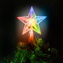 Family Christmas Karácsonyi LED-es csillag csúcsdísz - 10 LED - 15 cm - RGB - 2 x AA