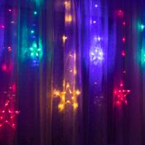 Family Christmas Karácsonyi LED fényfüzér - csillagok - multicolor - 6 nagy, 6 kicsi - 3 x 1 m