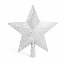 Family Christmas Karácsonyfa csúcsdísz - csillag alakú - 20 x 19 cm - ezüst