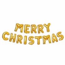 "Family Christmas 3D Karácsonyi ""Merry Christmas"" lufi - arany"