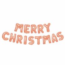 "Family Christmas 3D Karácsonyi ""Merry Christmas"" lufi - rozéarany"
