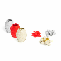 Karácsonyi ajándék szalag és masni - ezüst, piros, arany