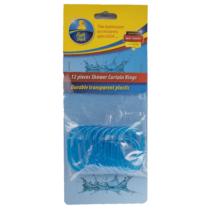 Bath Duck Zuhanyfüggőny Tartó Karika - 12db - Áttetsző Kék