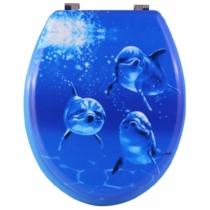 Bath Duck Wc-Ülőke - Mdf - Mintás - Rozsdamentes Acél Zsanérokkal - Delfin
