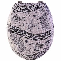 Bath Duck Wc-Ülőke - Mdf - Mintás - Rozsdamentes Acél Zsanérokkal - Tengeri Mozaik