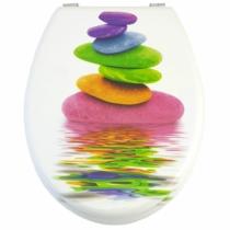Bath Duck Wc-Ülőke - Mdf - Mintás - Rozsdamentes Acél Zsanérokkal - Color Stone