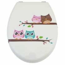 Bath Duck Wc-Ülőke - Mdf - Mintás - Rozsdamentes Acél Zsanérokkal - Owl