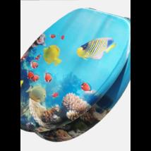3D Wc-Ülőke - Mdf - Rozsdamentes Acél Zsanérokkal - Akvárium