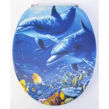 3D Wc-Ülőke - Mdf - Rozsdamentes Acél Zsanérokkal - Delfin