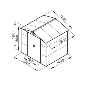 G21 Kerti Ház / Tároló - Fém - Szürke -213x191cm (GAH 407)