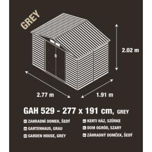 G21 Kerti Ház / Tároló - Fém - Szürke - 277x191cm (GAH 529)