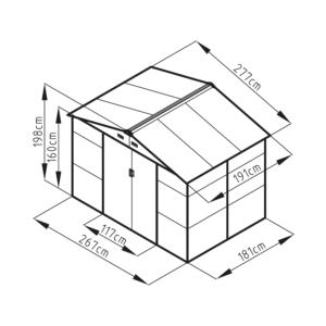 G21 Kerti Ház / Tároló - Fém - Barna - 277x191cm (GAH 529)