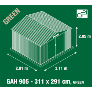 G21 Kerti Ház / Tároló - Fém - Zöld - 311x291cm (GAH 905)