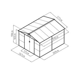G21 Kerti Ház / Tároló - Fém - Barna - 277x319cm (GAH 884)