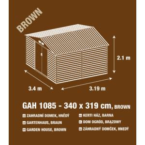 G21 Kerti Ház / Tároló - Fém - Barna - 340x319cm (GAH 1085)