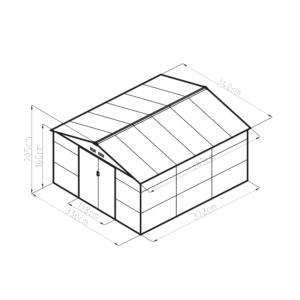 G21 Kerti Ház / Tároló - Fém - Barna - 340x383cm (GAH 1300)