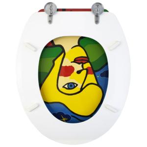 Bath Duck Wc-ülőke - Mdf - Mintás - Cink Zsanérokkal - Arc