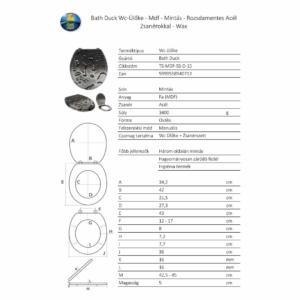 Bath Duck Wc-Ülőke - Mdf - Mintás - Rozsdamentes Acél Zsanérokkal - Wax