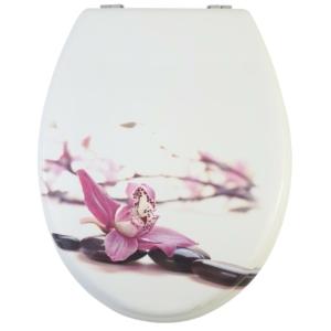 Bath Duck Wc-Ülőke - Mdf - Mintás - Rozsdamentes Acél Zsanérokkal - Orchidea (1 oldalon mintázott)