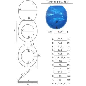Bath Duck Wc-Ülőke - Mdf - Mintás - Rozsdamentes Acél Zsanérokkal - Delfin - 2