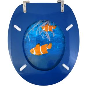Bath Duck Wc-Ülőke - Mdf - Mintás - Rozsdamentes Acél Zsanérokkal - Korall-1