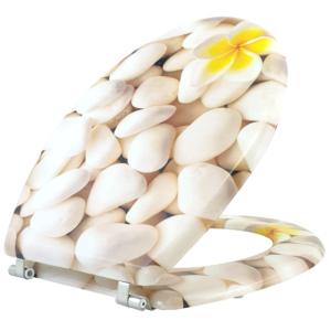 Bath Duck Wc-Ülőke - Mdf - Mintás - Rozsdamentes Acél Zsanérokkal - White Rocks