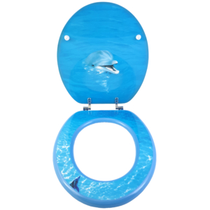 Bath Duck Wc-ülőke - Mdf - Mintás - Cink Zsanérokkal - Delfin - 2